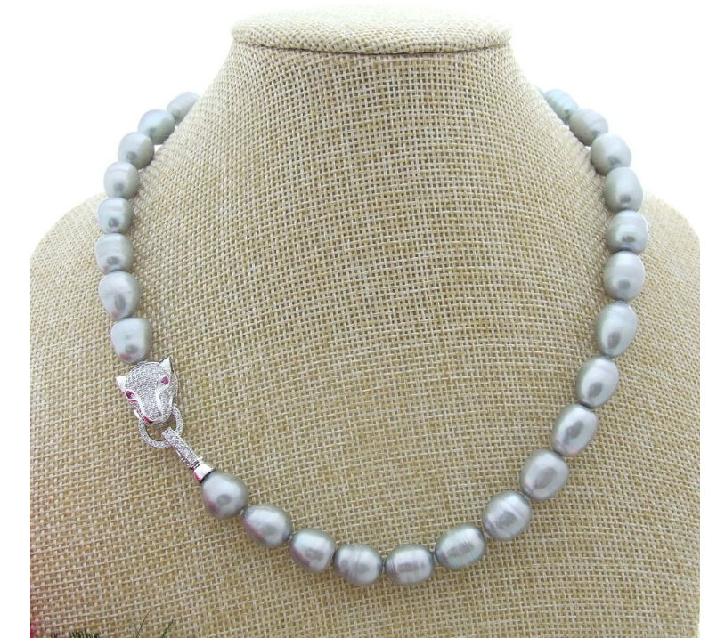 A3807 STUNNING 11-13MM SOUTH SEA SILVER GREY PEARL NECKLACE 18 INCH (B0322)(China (Mainland))