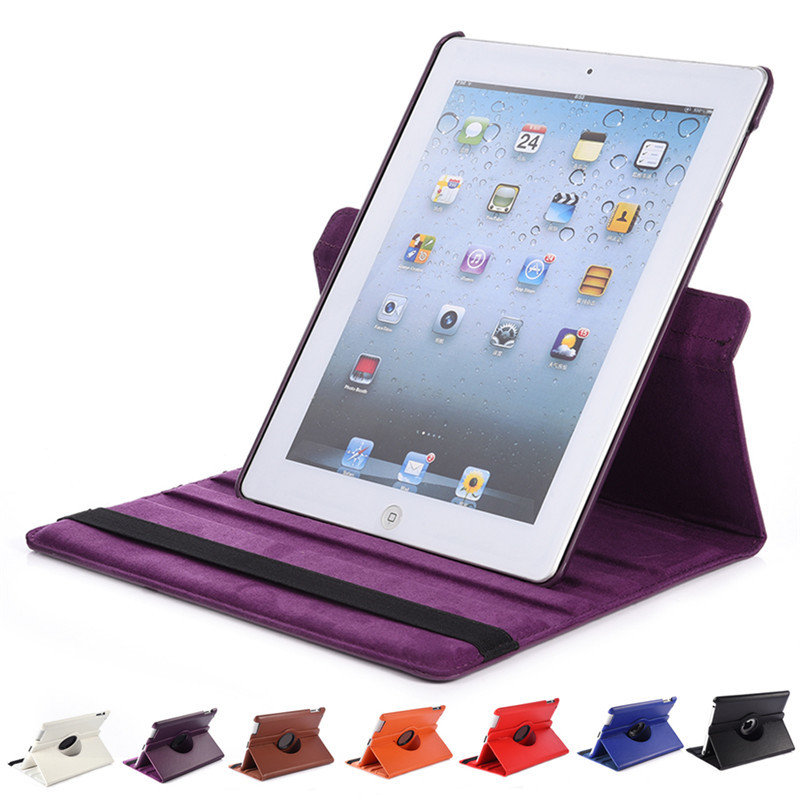 Ultra-thin Cover For IPad Air 2 PU Leather Flip Smart Sleep Stand 360 Rotating Protective Case Power Save 7 Colors Dropshipping(China (Mainland))