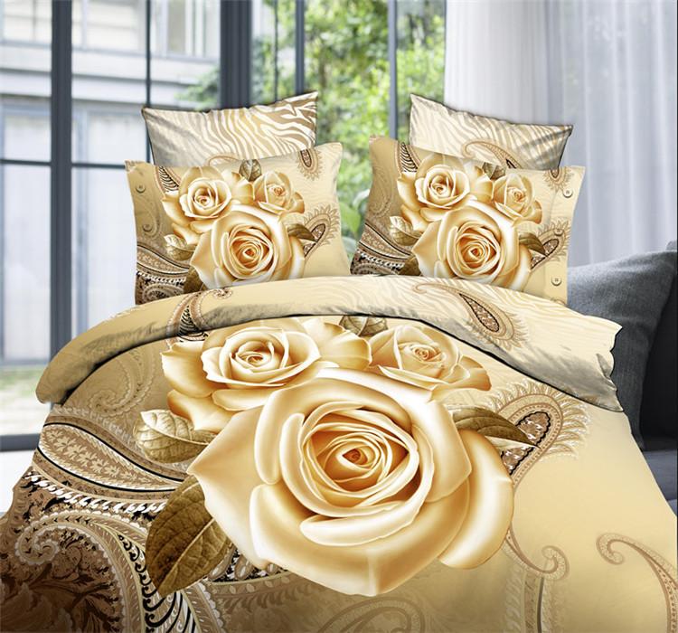 Cheap 3D Bedding Set Flower Queen King Size 3D Doona/Duvet Cover Set Gold Red Rose Luxury 3D Sheets Pillow Shams(China (Mainland))