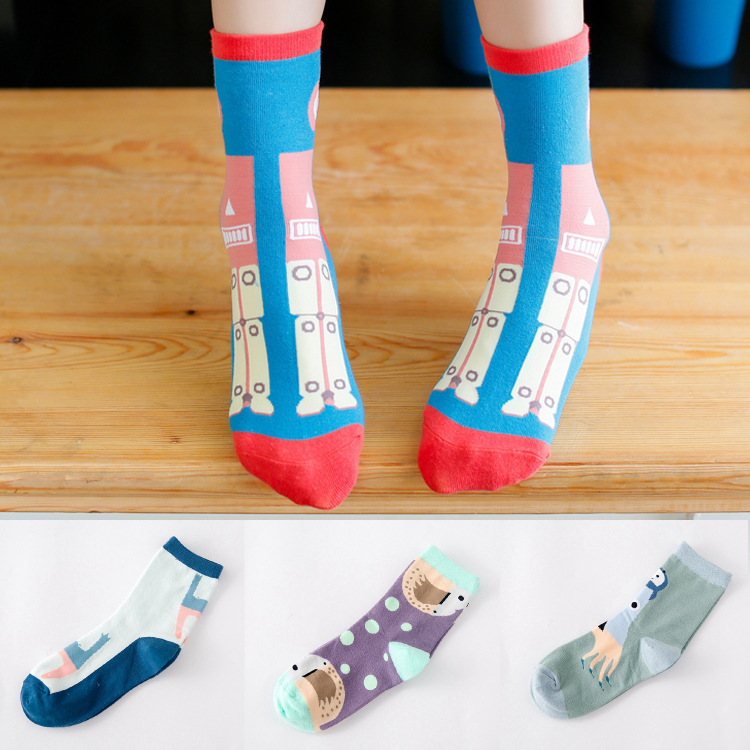 100pcs=50pairs cotton socks Android products fresh and lovely ladies Korea socks cotton socks letters calcetines(China (Mainland))