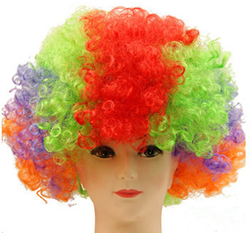 Clown Wig Synthetic Low Temperature Fiber Football Fan Afro Colors Toupee Short Curly Hairpieces Salon Party Carnival Hairpieces(China (Mainland))