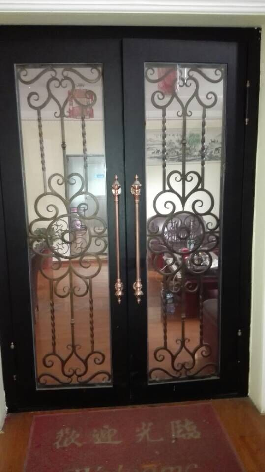 "Custom design 74"" x 98"" Wrought Iron Entry Double Doors Oct4(China (Mainland))"