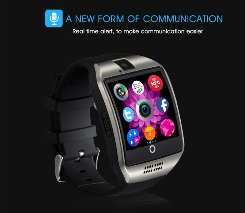 Original Q18 Bluetooth Smart Watch NFC Wristbands Smartwatch UI Facebook With Touch Screen Camera SIM For Android and IOS Phone