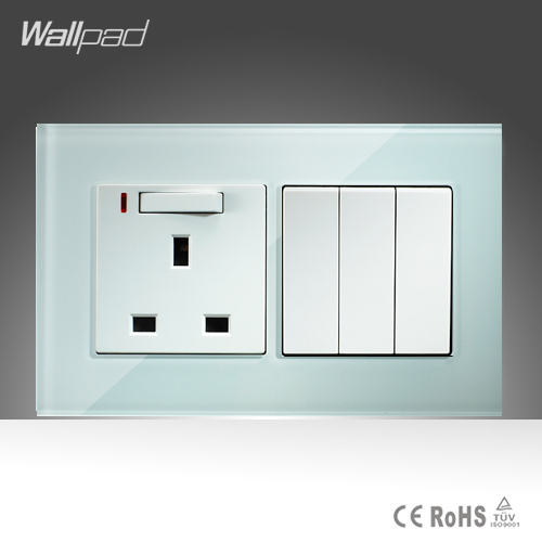 13A UK Switched LED Socket and 3 Gang Wallpad 146*86mm BS CE White Crystal Glass 13A UK Socket and  3 Gang Switch Free Shipping<br><br>Aliexpress