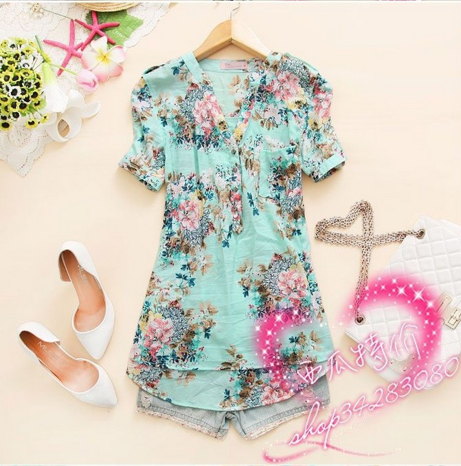 Flower Printed Tops Flower Printed Shirt Women
