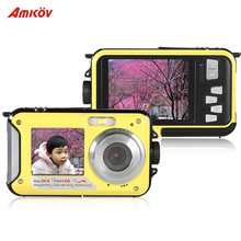 "Amkov 2.7"" Selfie Digital Camera HD 1080P Video Camcorder Recorder Double Dual LCD Display Anti-shake 24MP 16X Digital Zoom(China (Mainland))"