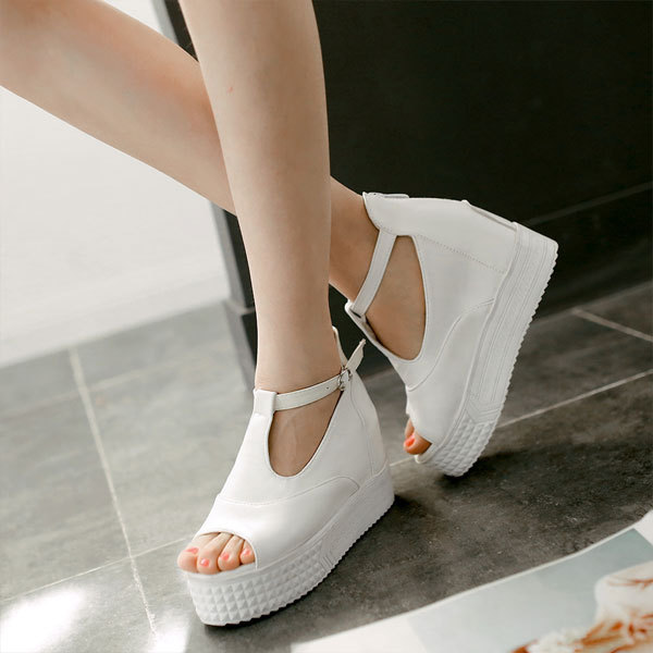 new 2015 women sandals high heeled PU leather summer platform wedges open toe shoes ankle strap sandals Plus size 35-43 OX026<br><br>Aliexpress