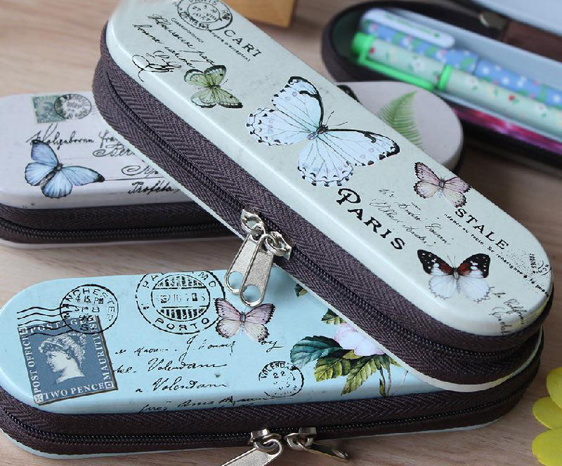 1Pcs New Vintage Butterfly Flower Series Zipper Tin Pencil Case Pencil Box H0563(China (Mainland))