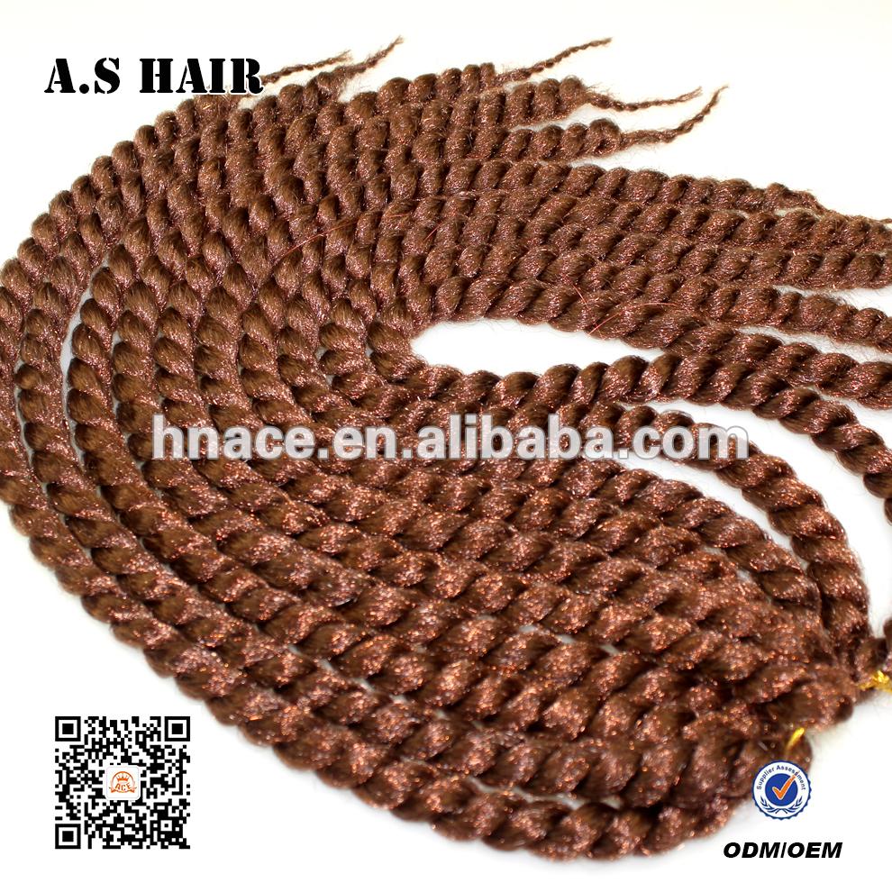 High Quality 24 Inch Synthetic Havana Mambo Crochet Twist Braid Hair Synthetic Ombre Braiding Hair(China (Mainland))
