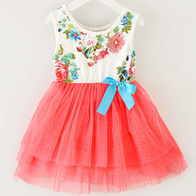 Girl Dress 2015 Summer New Floral Baby Girl Dress Princess TuTu Dress 8 Colors Infant Dresses Kids Clothing With Bow(China (Mainland))