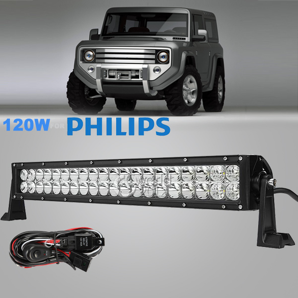 22 Inch 120W for Philips LED Work Light Bar 12V/24V Spot Flood Combo Lamp Truck ATV 4x4 Offroad SUV Car Bumper Driving Light DRL(China (Mainland))