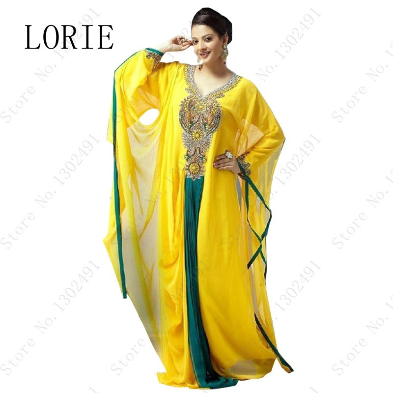 2015 Unique Design Yellow Arabic Evening Dresses V Neck Chiffon Formal Gown For Indian Party Kaftans 2015 Evening Gown(China (Mainland))