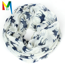2015 New Fashion Women Moose elk print for Christmas kerchief  tippet gift Aminal infinity loop scarf free shipping(China (Mainland))