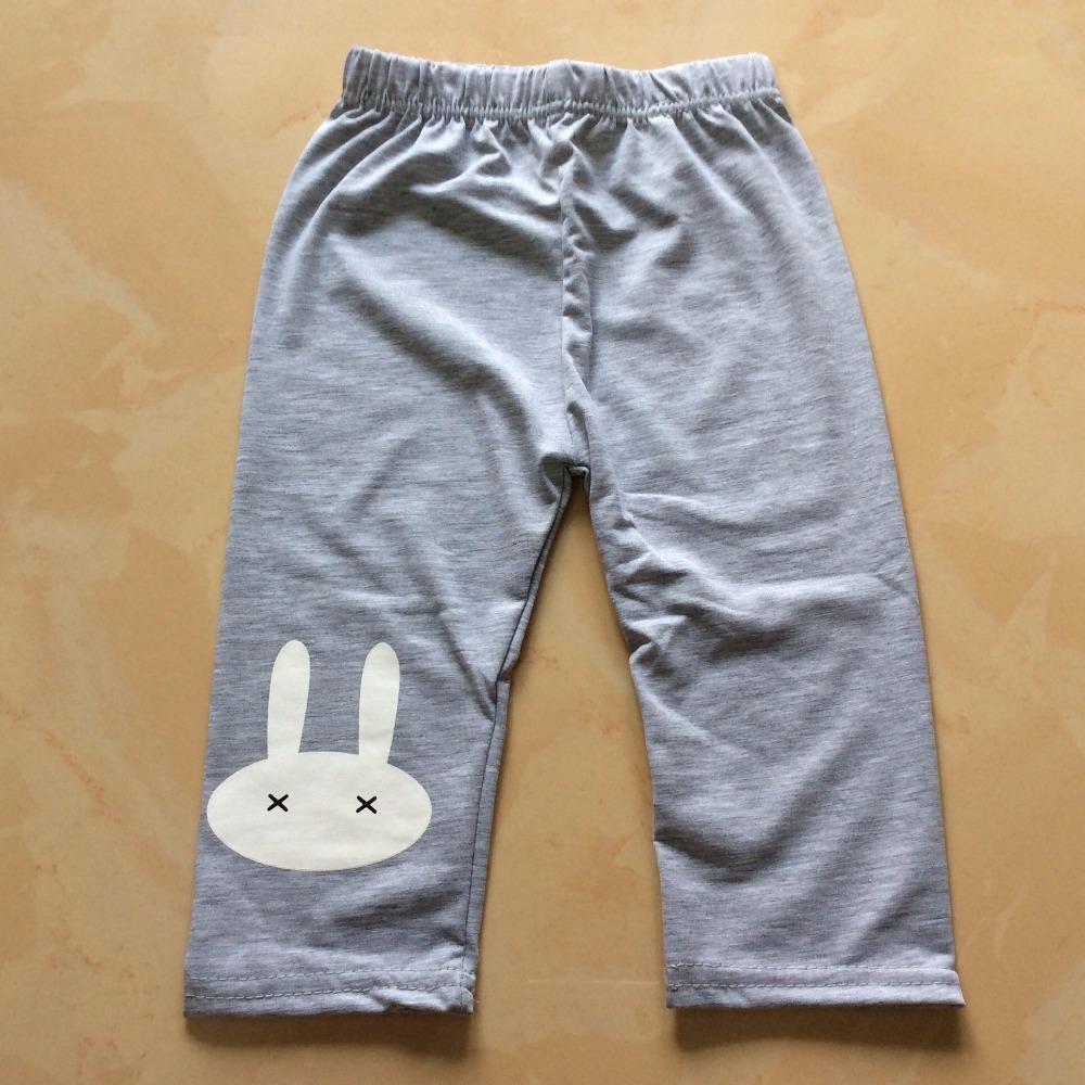 2016 Summer Children Summer Cotton Pants for Kids Rabbit Printing Knee Length Girls Leggings Pants Pink Grey Blue Yellow(China (Mainland))