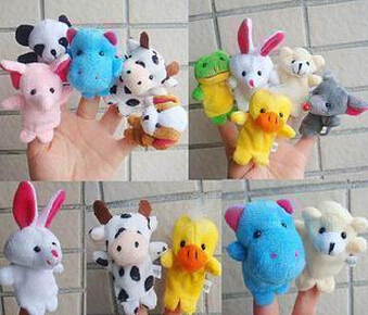 2015 Special wholesale small double with foot animal hand puppet cartoon even finger plush toys(China (Mainland))