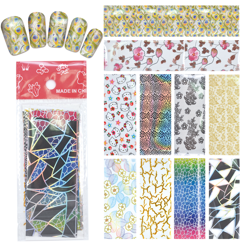 YZWLE 10 Designs Nail Art Full Tips Wraps DIY Nail Transfer Foil Decals Foils Polish Adhesive Wraps #XKT-N22(China (Mainland))