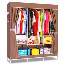 YoHere Non-woven fabric wardrobe bedroom wardrobe large burgundy and coffee with steel tube wardrobe(China (Mainland))