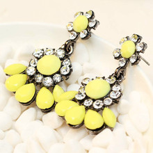 Women's fashion earrings New arrival brand sweet metal with gems stud crystal earring for women girls(China (Mainland))