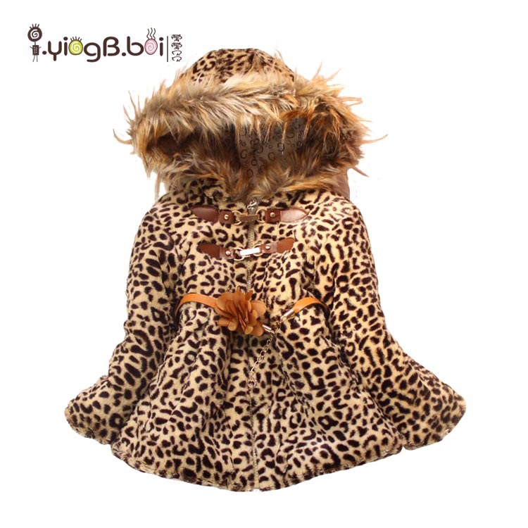 2016 new winter fashion thick coral velvet leopard grain coat girls cotton jacket(China (Mainland))