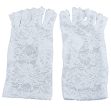 Elegant White Fingerless Short Lace Gloves Fancy Dress French Maid Madonna 80s