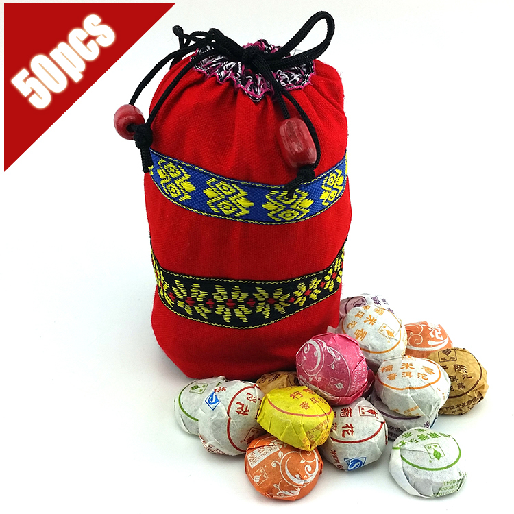 On Sale! ! 50 pcs 10 Different Flavor Pu er Puerh tea Mini Yunnan Puer tea, Chinese chai With Gift Bag(China (Mainland))