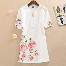 Buy Summer Dress 2017 Fashion Short-Sleeve Loose V-Neck Dress Knee-Length Printing Vintage Embroidery Women casual Dress Plus size for $18.19 in AliExpress store
