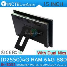 All in one desktop pc с 5 провод Gtouch 15 дюймов СВЕТОДИОДНЫЙ сенсорный 4 Г RAM 64 Г SSD Двойной 1000 Мбит/С Сетевых Карт(China (Mainland))