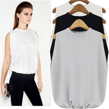 2015 spring summer new arrival European style sleeveless women chiffon blouse loose tops turtleneck pullover blusa feminina C260(China (Mainland))