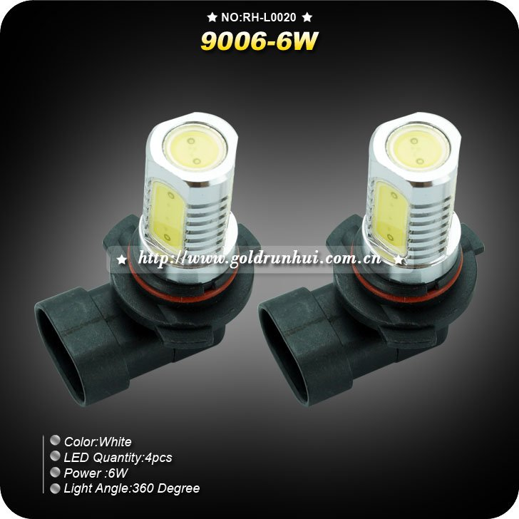 2PCS/Lots Fog Light 9006 6W White Light High-Power LED lamp voor in de auto Lampen (DC 12V), Free Shipping(China (Mainland))