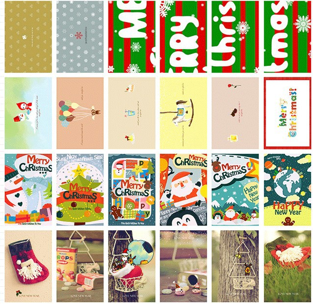 PD005 Christmas Rhapsody theme paragraph Packed postcards Greeting Cards creative postcards drawer card 60 pcs/set(China (Mainland))