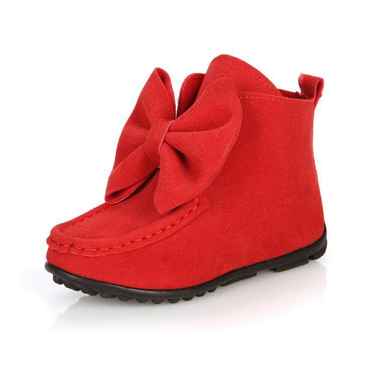 Manufacturers selling children boots shoes fashion big bow girls boots shoes leather flat kids boot casual