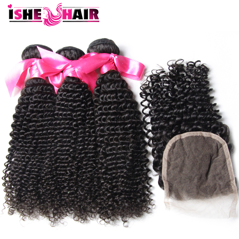 7A Brazilian Curly Virgin Hair With Closure 4 Bundle Brazilian Hair Weave Bundles With Closure No Tangle Remy Human Hair Weave
