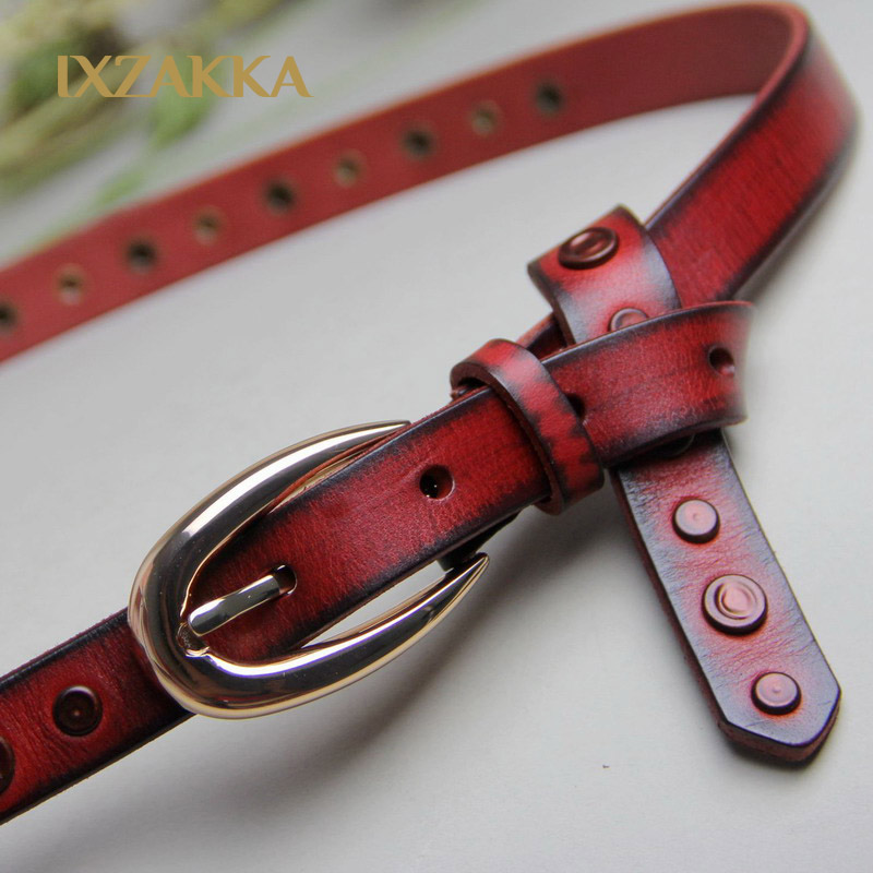 Fashion rivet leather ladies punk style fashion belt red plain first layer of fine leather belts(China (Mainland))