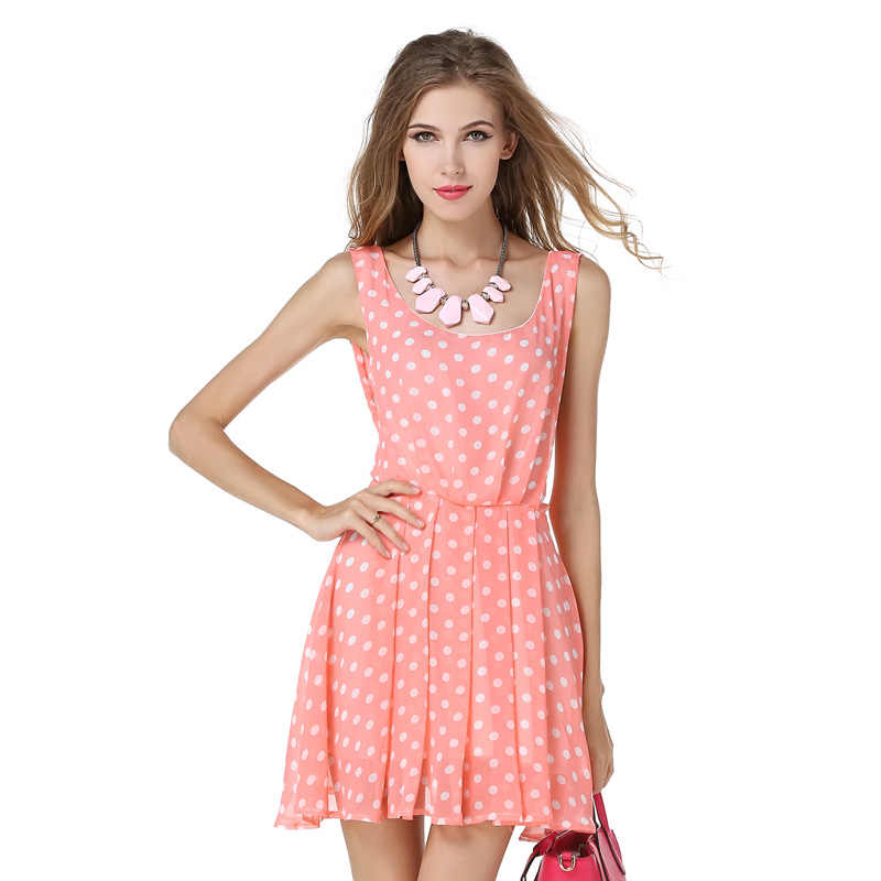 2016 new style summer dress women Cute Pink Polka Dot halter strap dress Bow lacing decoration woman dresses womens sexy dresses(China (Mainland))