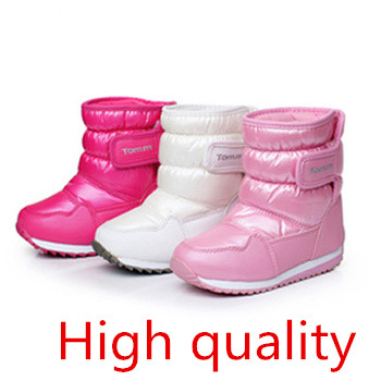 Winter New Fashion Snow Boots Girls Cindy Color Waterproof Winter Boots Girls Plush Lining Skidproof Warm Shoes Kids(China (Mainland))