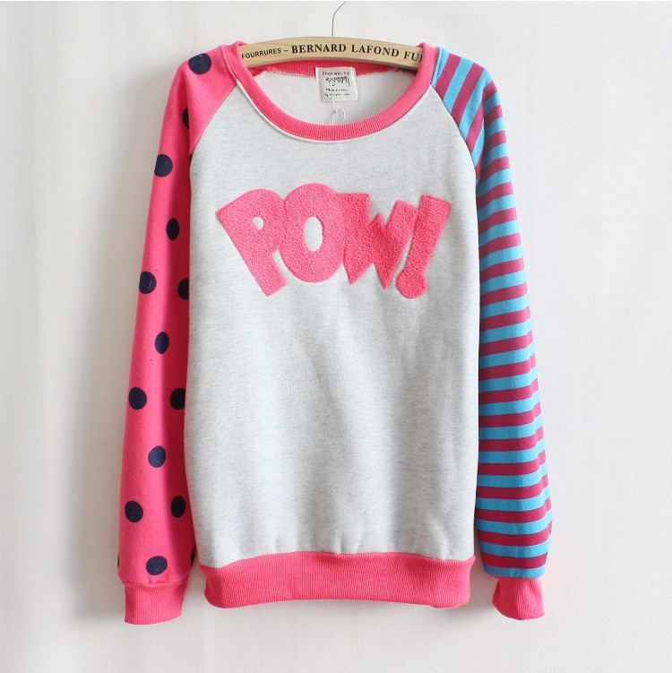 Pow!flocking letters fleece inside sweatshirts big dot and stripe sleeve nice design women hoodies 4 color(China (Mainland))
