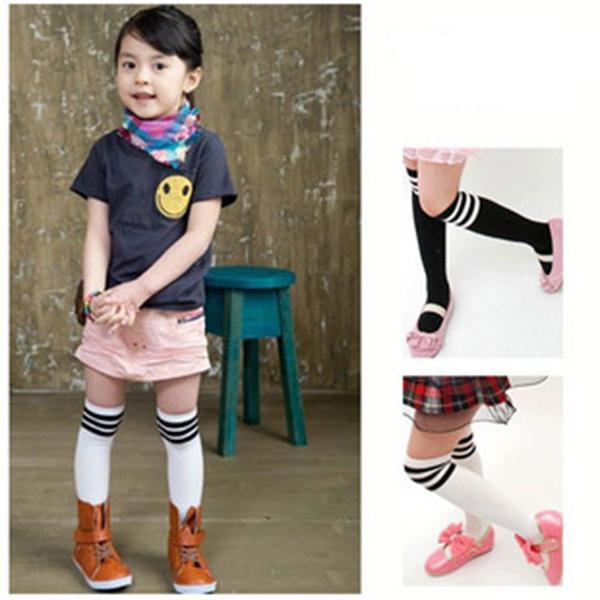 2-7Y Kid Girls Cotton Stripes Socks School High Knee Stock Pantyhose(China (Mainland))
