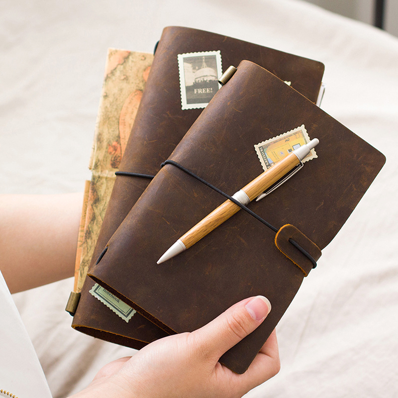 100% Genuine Leather Traveler's Notebook Diary Journal Vintage Handmade Cowhide gift travel notebook BUY 1 Get 5 Accessories(China (Mainland))