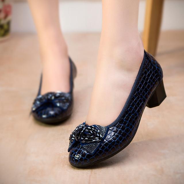 2016 мода весна толстые каблуки женщин туфли на высоком каблуке натуральной кожи ...