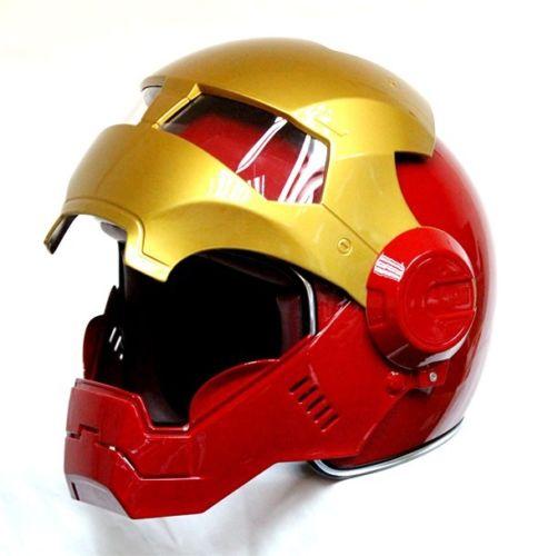Masei Bike Scooter Moto Red Golden Classic Iron Man Helmet