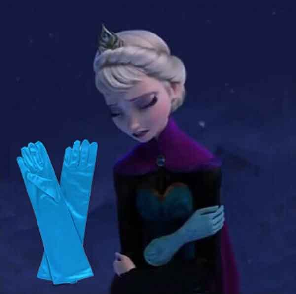 Novelty Character Classical Blue Xmas Gift Frozen Elsa Princess Girl Fancy Polyester Gloves