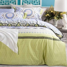 Luxury green geometric bedding set adult,full queen king 100%cotton comfortable home textile bedsheet quilt cover pillow case(China (Mainland))
