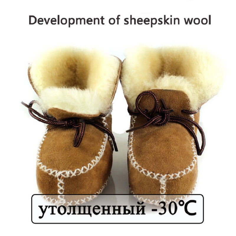 winter baby shoes boots infants warm shoes fur wool girls baby booties Sheepskin Geniune Leather boy baby boots fur newborns