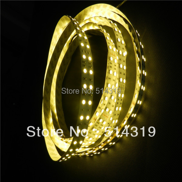 Фотография super bright double row 120leds/m 600 SMD 5050 LED flexible non waterproof strip 5m 12v or 24 dhl ups fedex free shipping