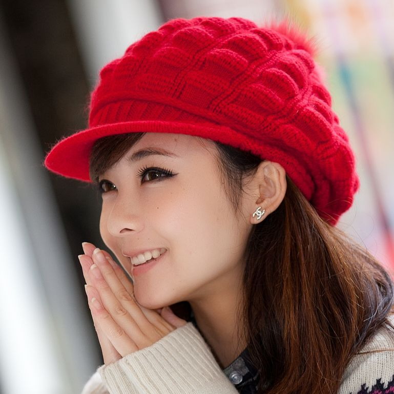Winter Hats For Women Visor Crochet Wide Brimmed Plaid Top Pompom Thermal Caps Knitted Beanie Cap With Visor Pattern(China (Mainland))