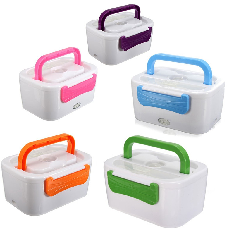 New 220V/110V/12V Portable Car Plug Heated Lunch Box Compact Electric Heated Lunch Food Warmer Box Bento Food Container 1050ML(China (Mainland))