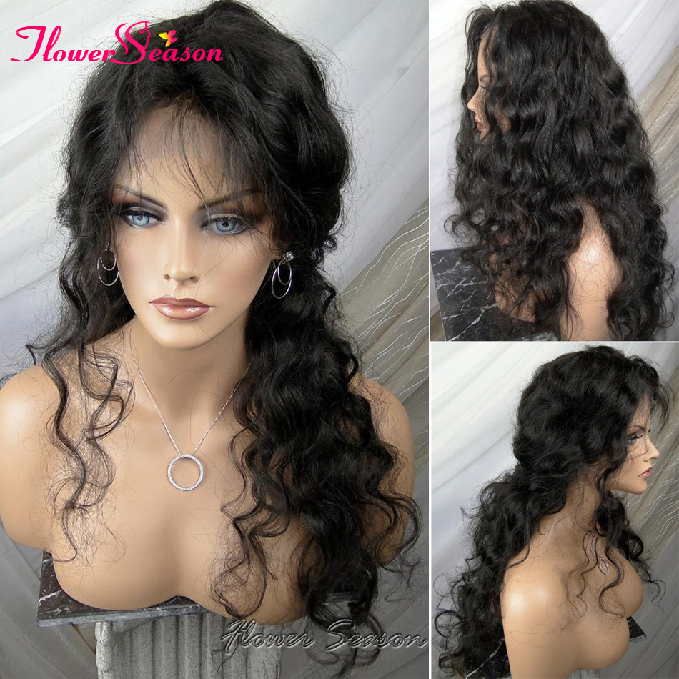 8A Unprocessed Virgin Brazilian Full Lace Wigs Human Hair With Baby Hair 150 Density Natural Wave Glueless Full Lace Front Wigs