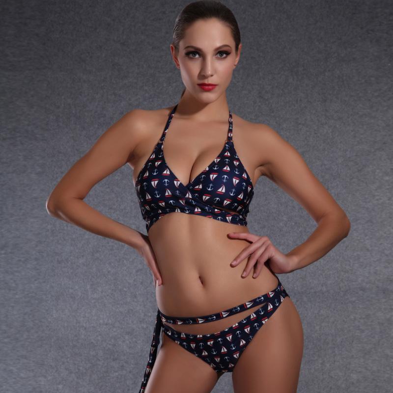 2016 New Swimsuit Women Brand Swimwear Sexy Halter Top Bikini Swim Wear Tie Bottom Bandage Biquini Female Manufacturer Wholesale(China (Mainland))