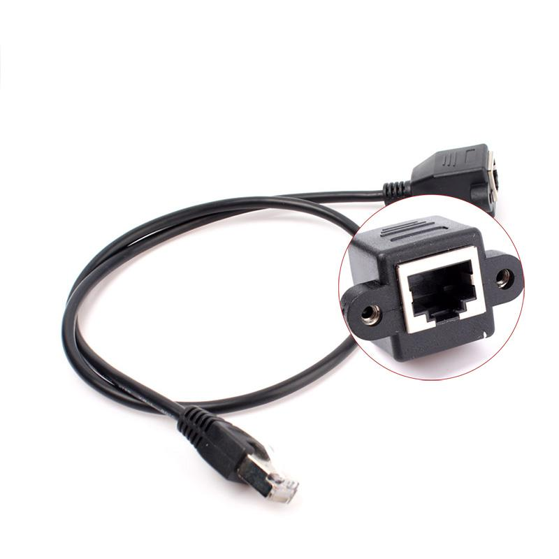 New Arrival 0.6M RJ45 Male to Female Screw Panel Mount Ethernet LAN Network Extension Cable #69082(China (Mainland))