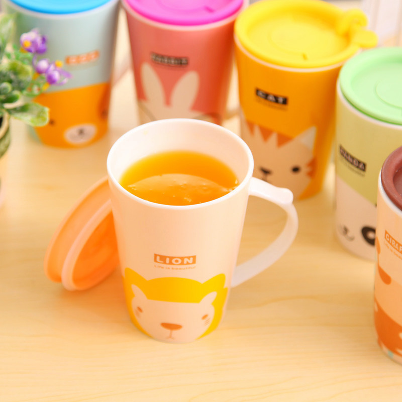 Creative Adorable Mug Ceramic Cup Breakfast Coffee Milk Juice cup with Silicone lid Insert Straw(China (Mainland))